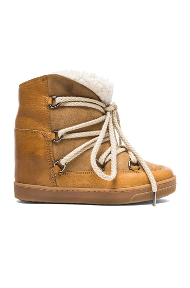 Isabel Marant Nowles Snow Sheep Fur Boots in Camel