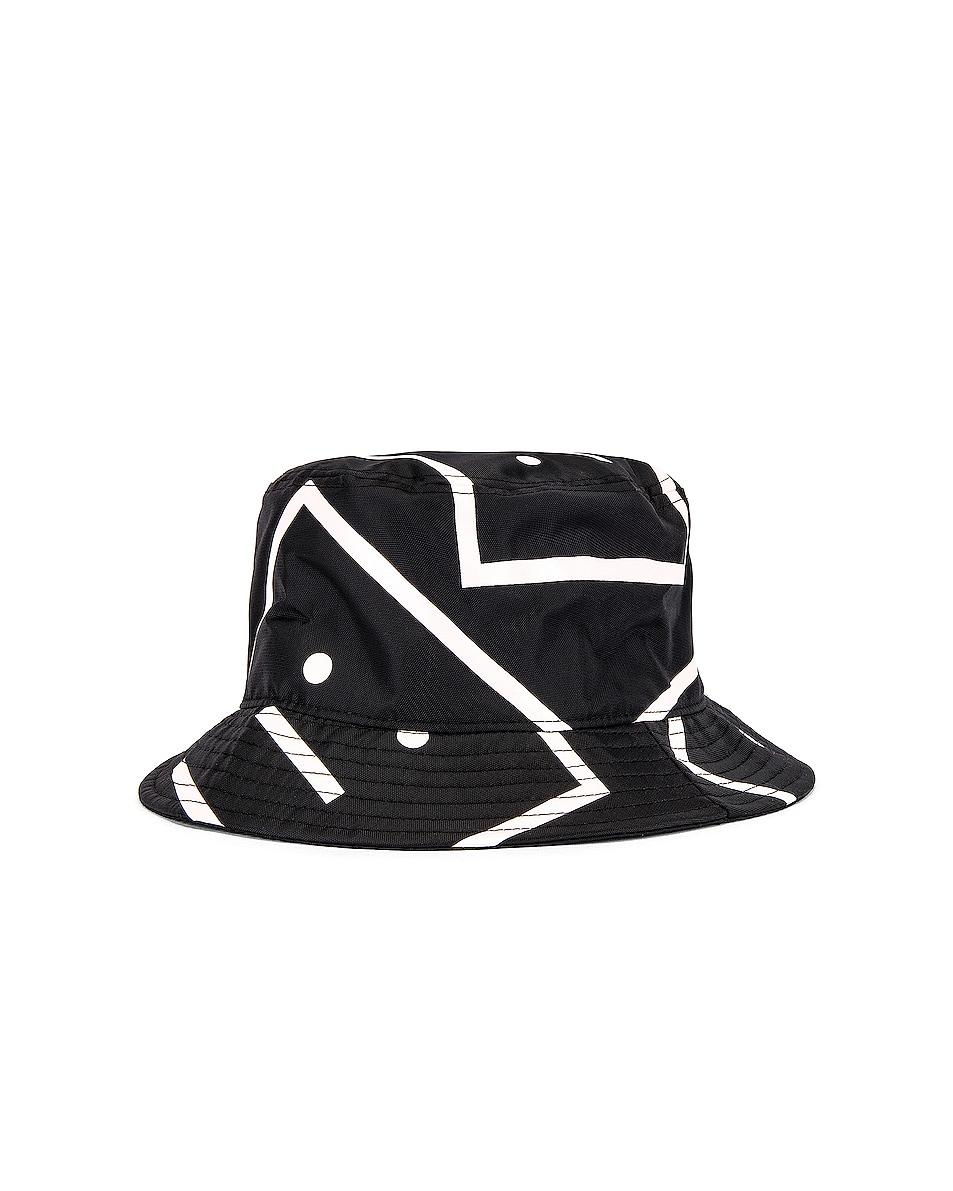Image 2 of Acne Studios Buk Face NY Co Print Hat in Black