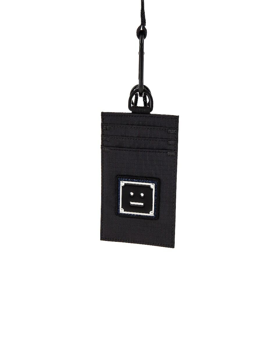 Image 1 of Acne Studios Azro Plaque Face Neck Wallet in Black