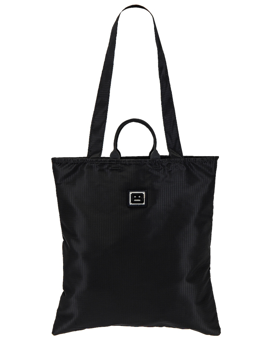 Image 1 of Acne Studios Awen Plaque Face Tote in Black