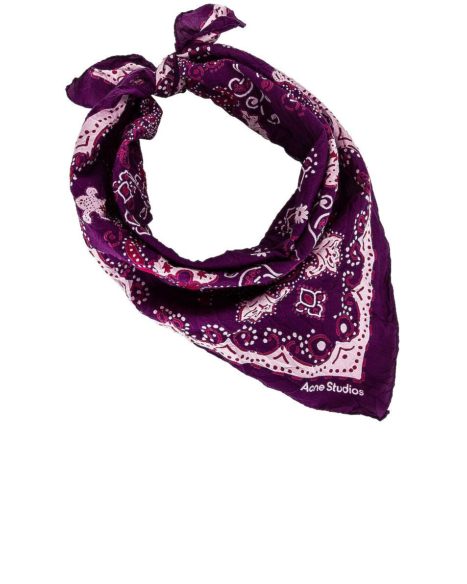 Image 1 of Acne Studios Printed Scarf in Purple & Pale Pink