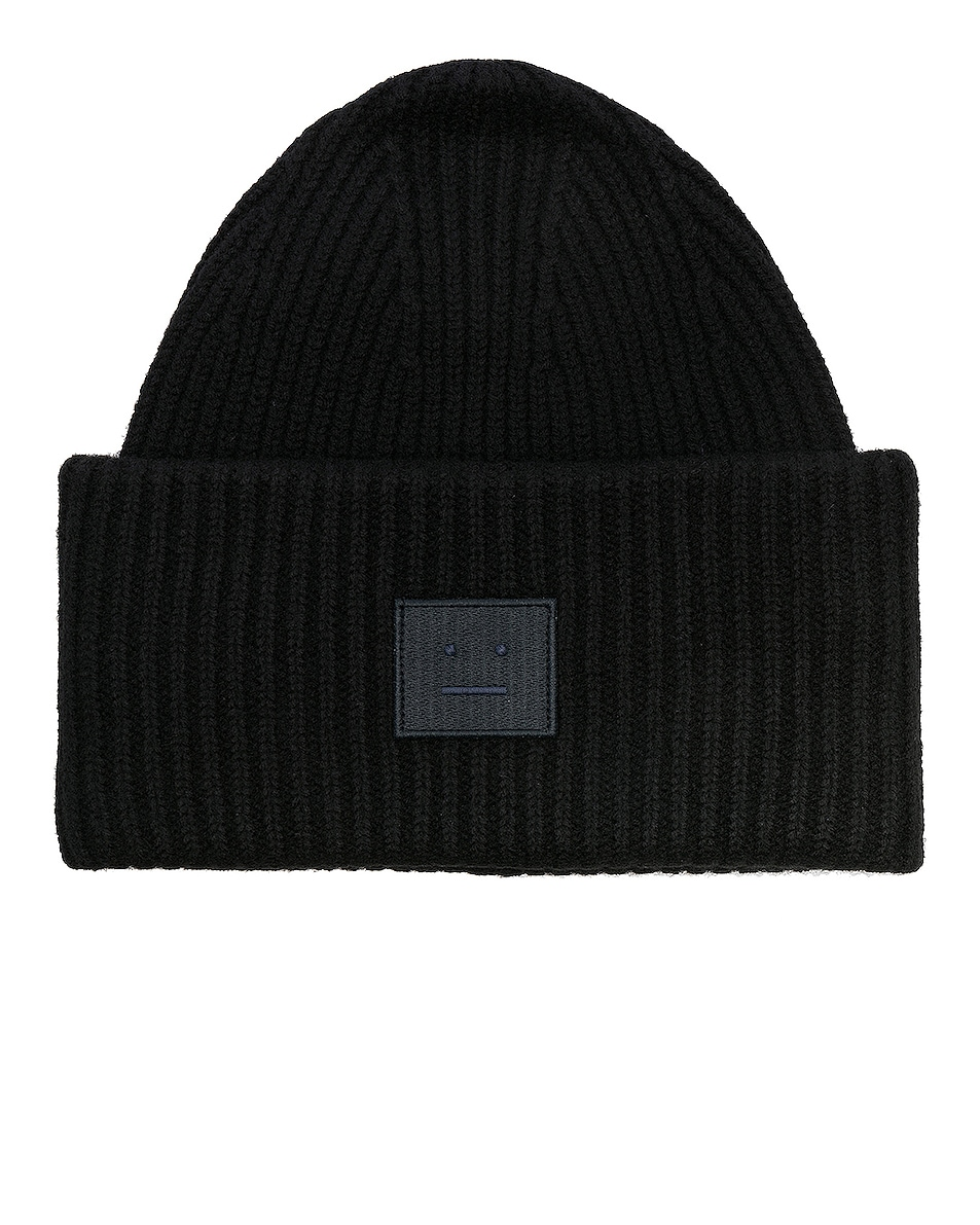 Image 1 of Acne Studios Pansy Face Beanie in Black