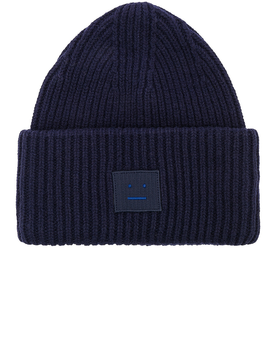Image 1 of Acne Studios Pansy Face Beanie in Navy