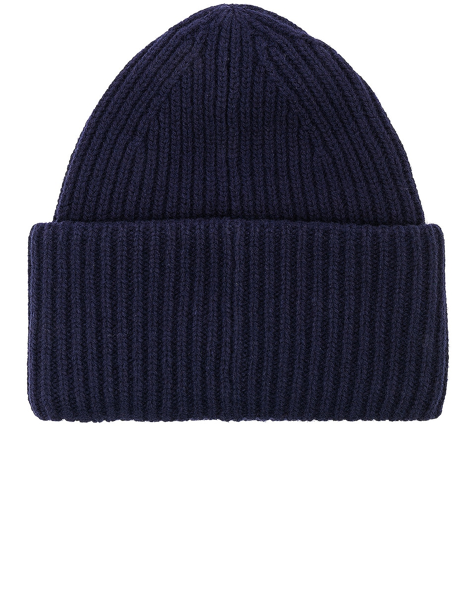Image 2 of Acne Studios Pansy Face Beanie in Navy