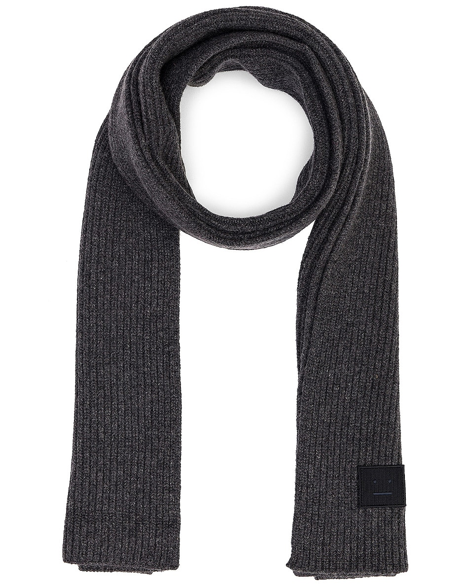 Image 1 of Acne Studios Pansy Face Scarf in Charcoal Melange