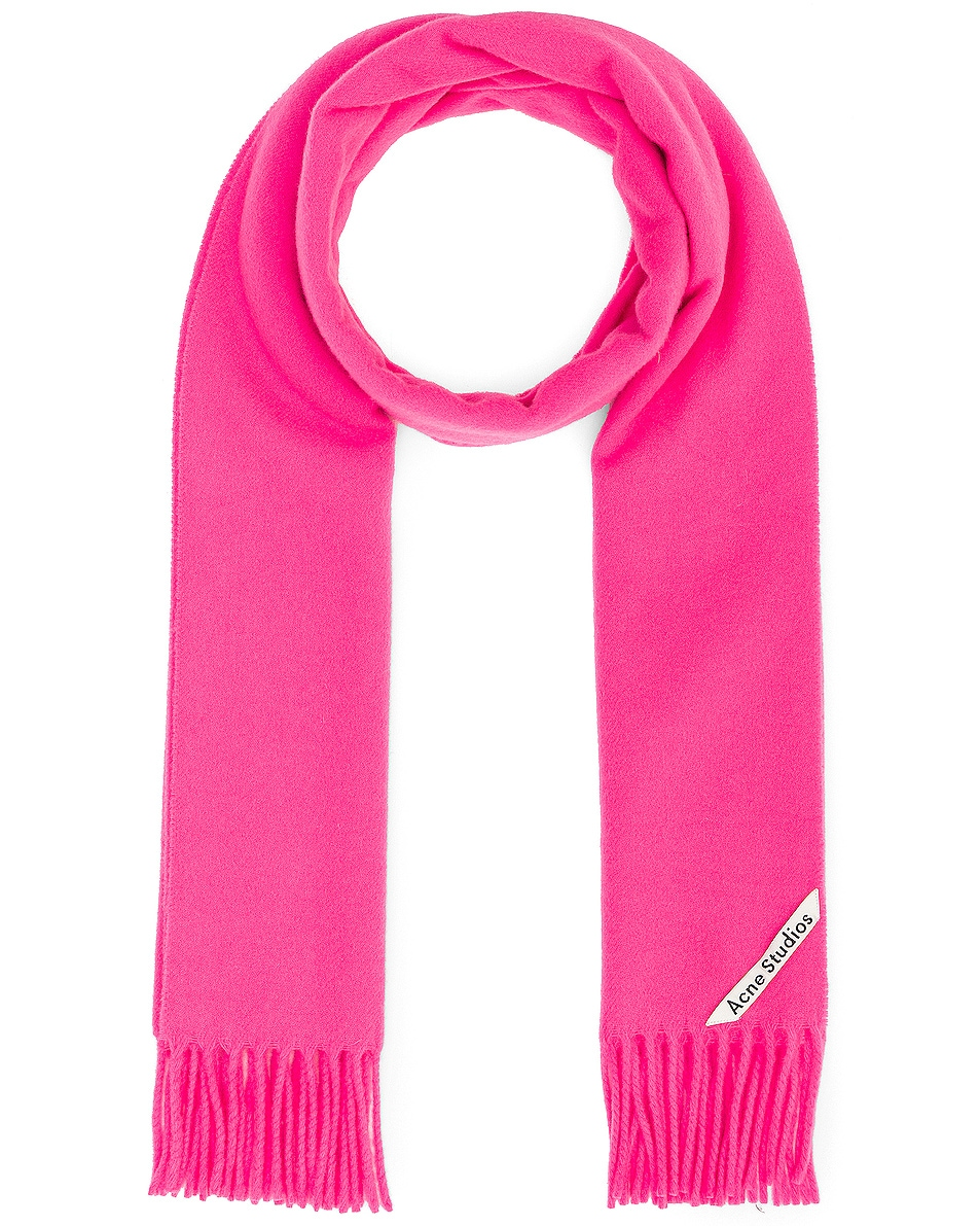 Image 1 of Acne Studios Canada Narrow Scarf in Pink & Fluo Pink
