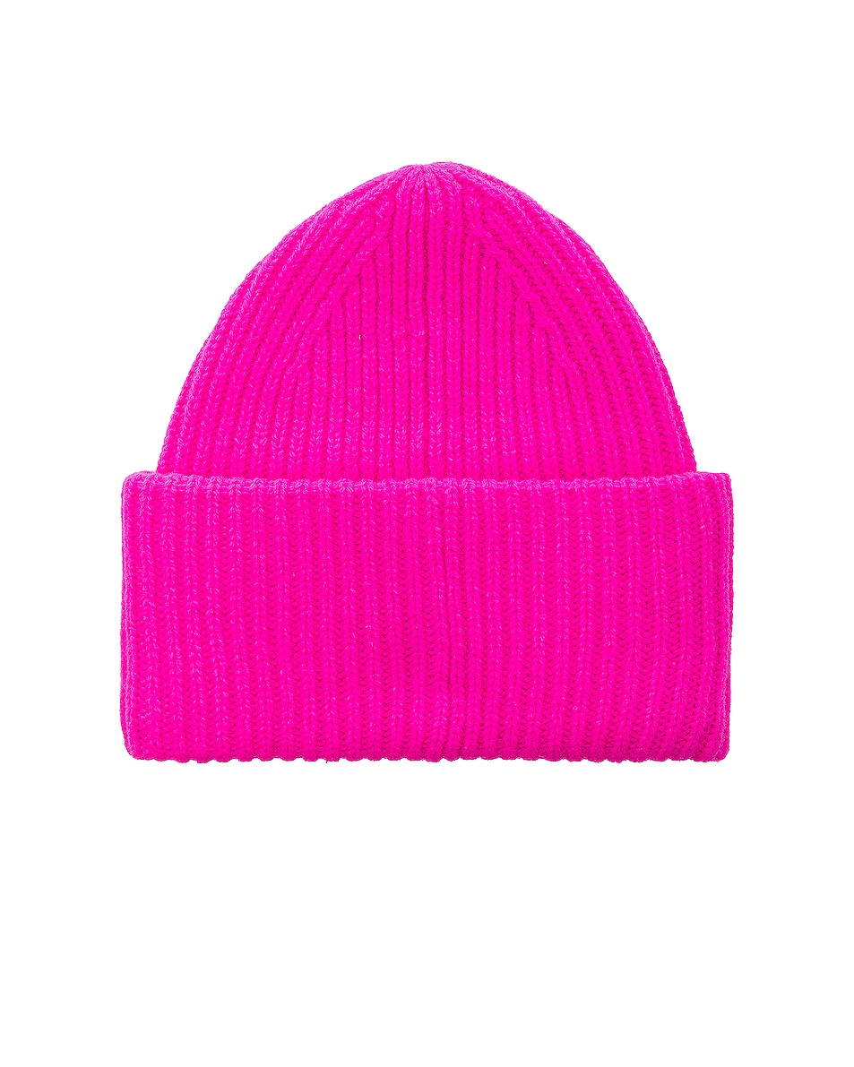 Image 2 of Acne Studios Pansy Face Beanie in Bright Pink