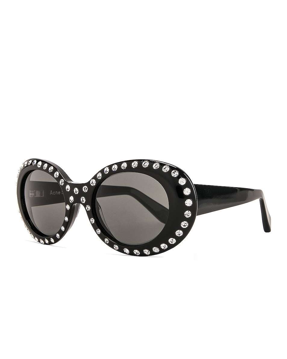 Image 2 of Acne Studios Mustang Strass Sunglasses in Black