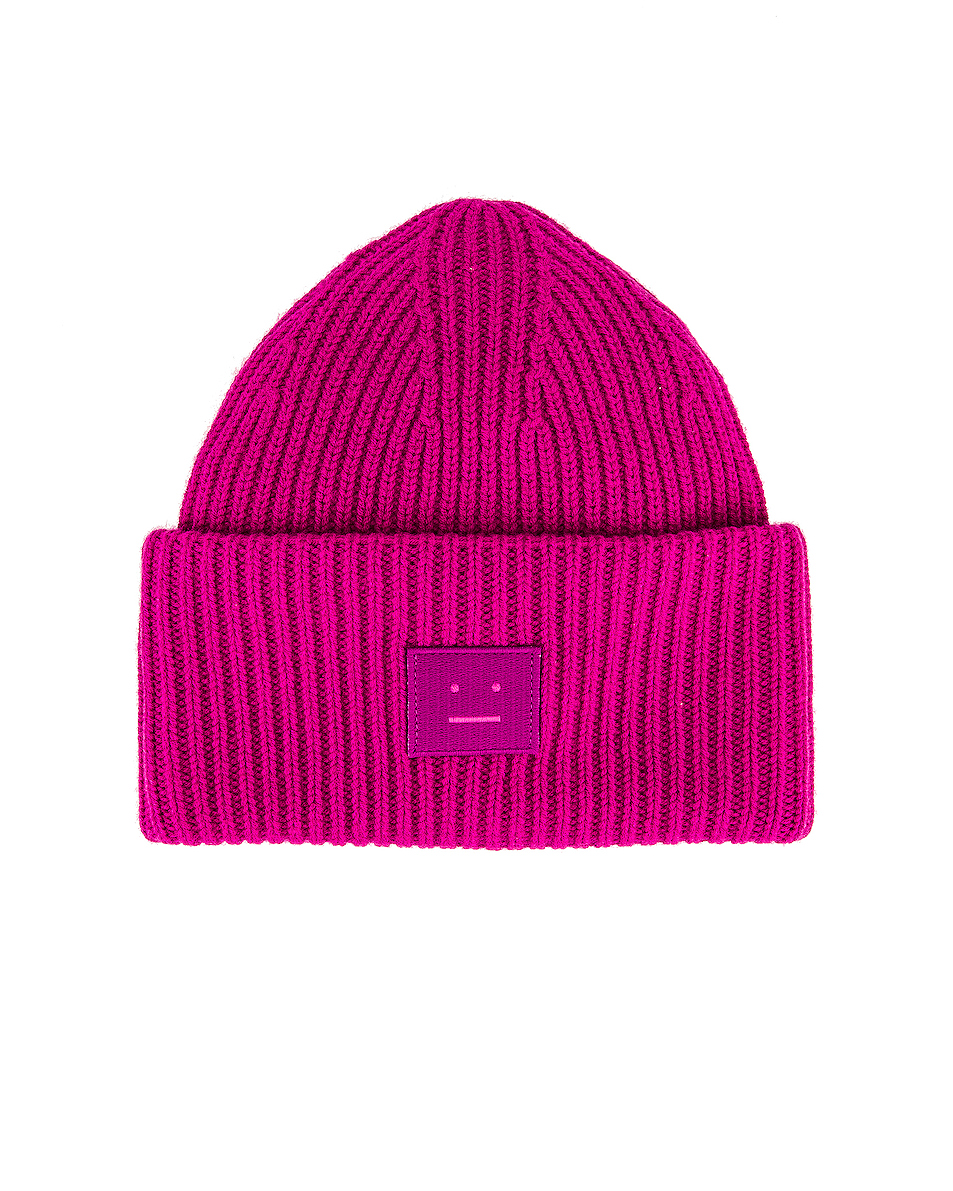 Image 1 of Acne Studios Pansy Face Beanie in Magenta Pink