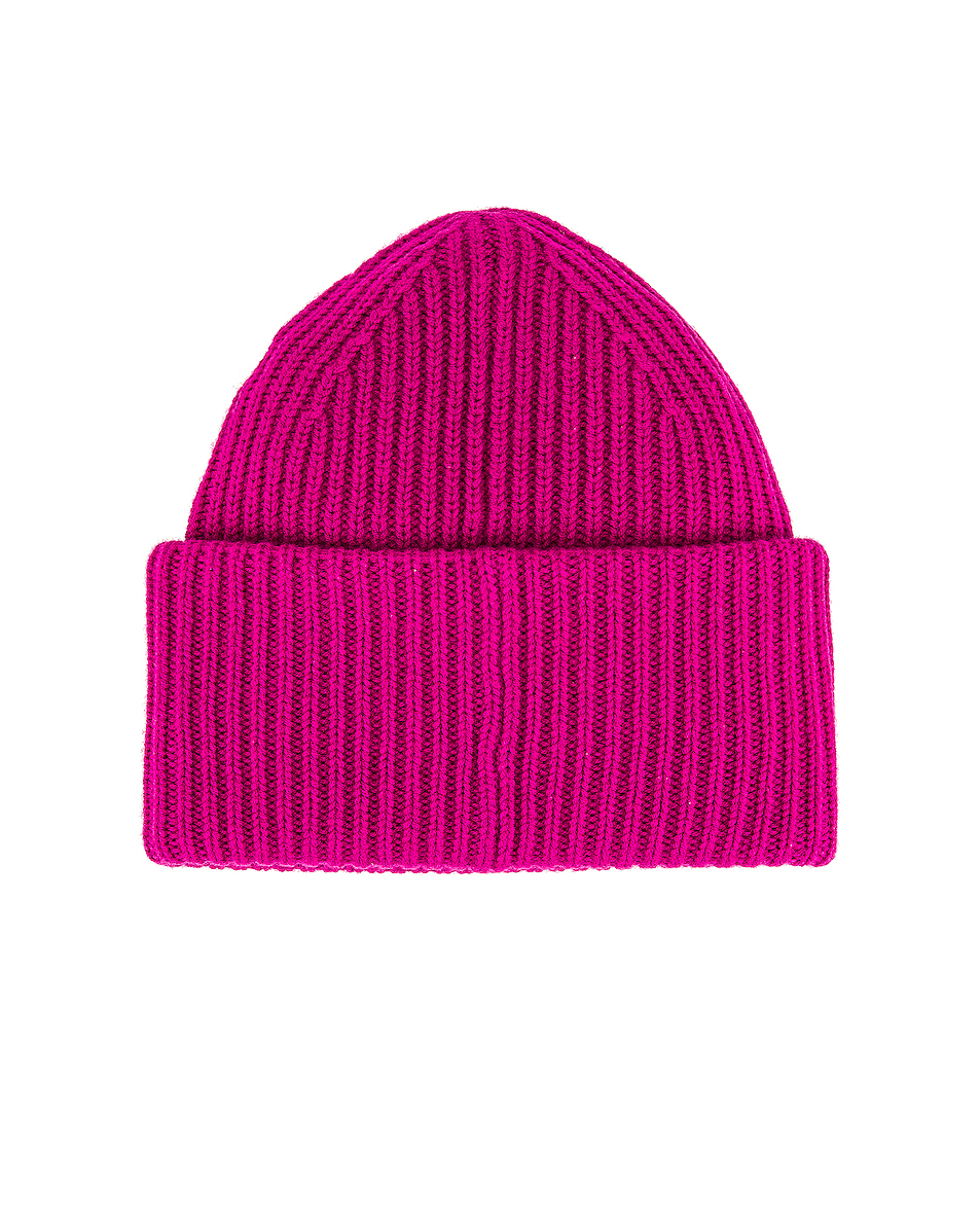 Image 2 of Acne Studios Pansy Face Beanie in Magenta Pink
