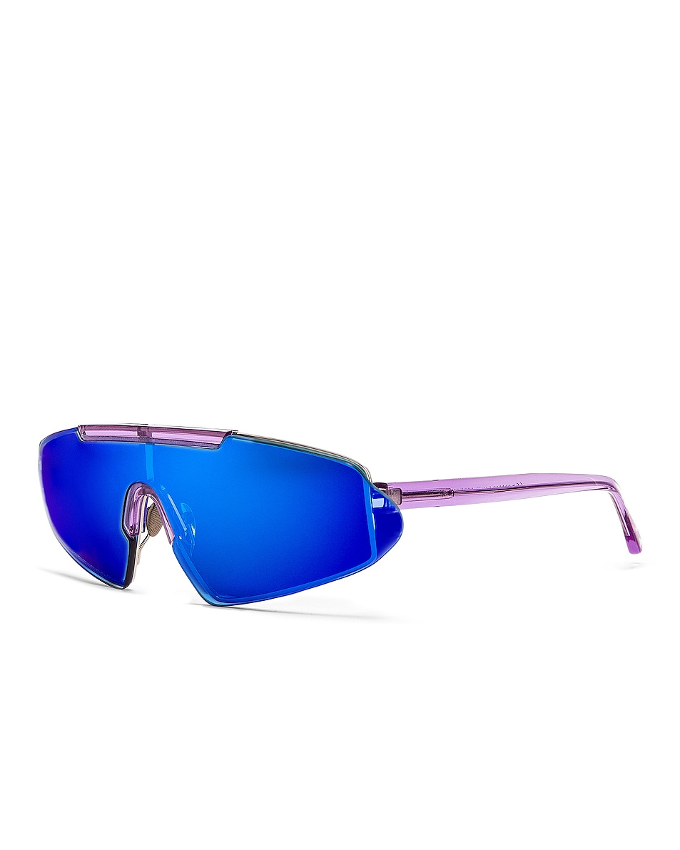 Image 2 of Acne Studios Bornt Sunglasses in Purple & Blue Mirror