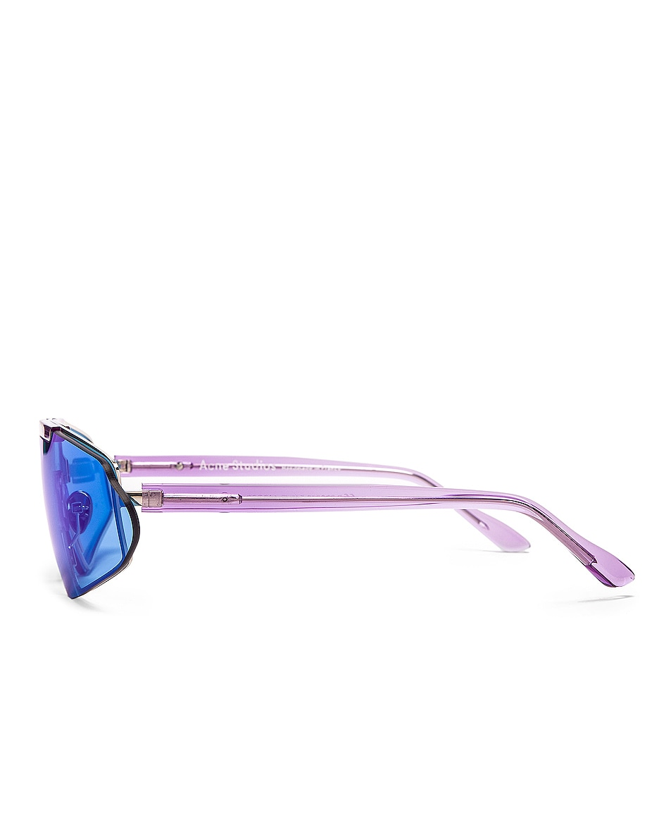 Image 3 of Acne Studios Bornt Sunglasses in Purple & Blue Mirror