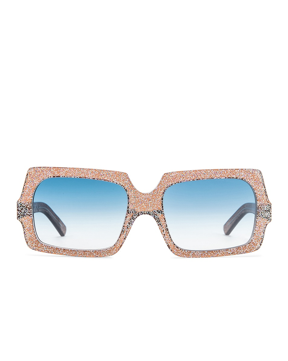Image 1 of Acne Studios George Large Sunglasses in Silver Glitter & Blue