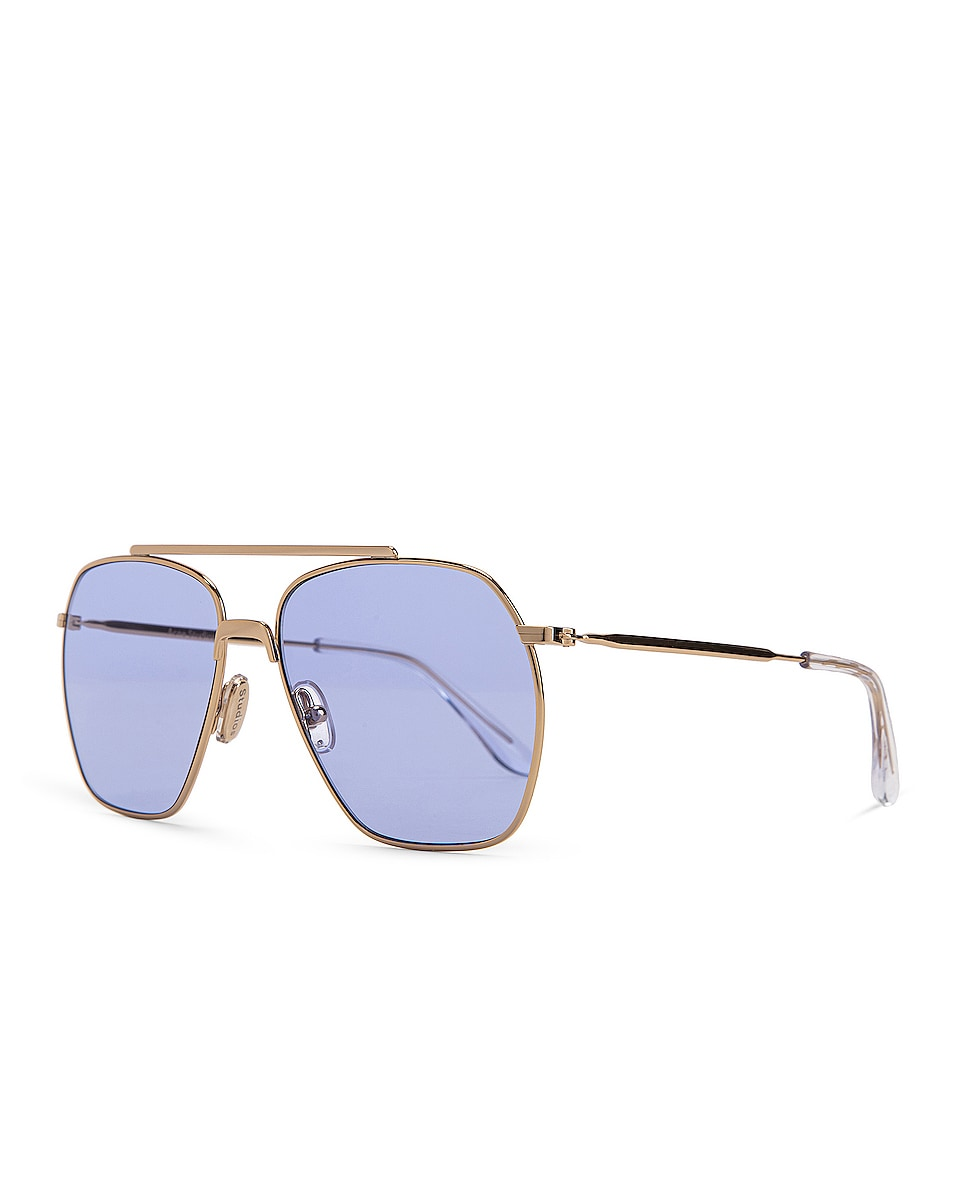 Image 2 of Acne Studios Anteom Sunglasses in Gold & Blue