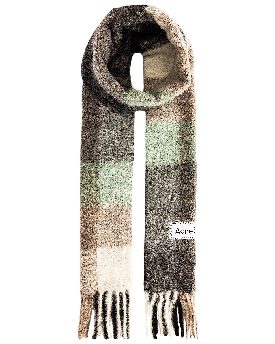 Image 1 of Acne Studios Vally Scarf in Green, Grey & Black