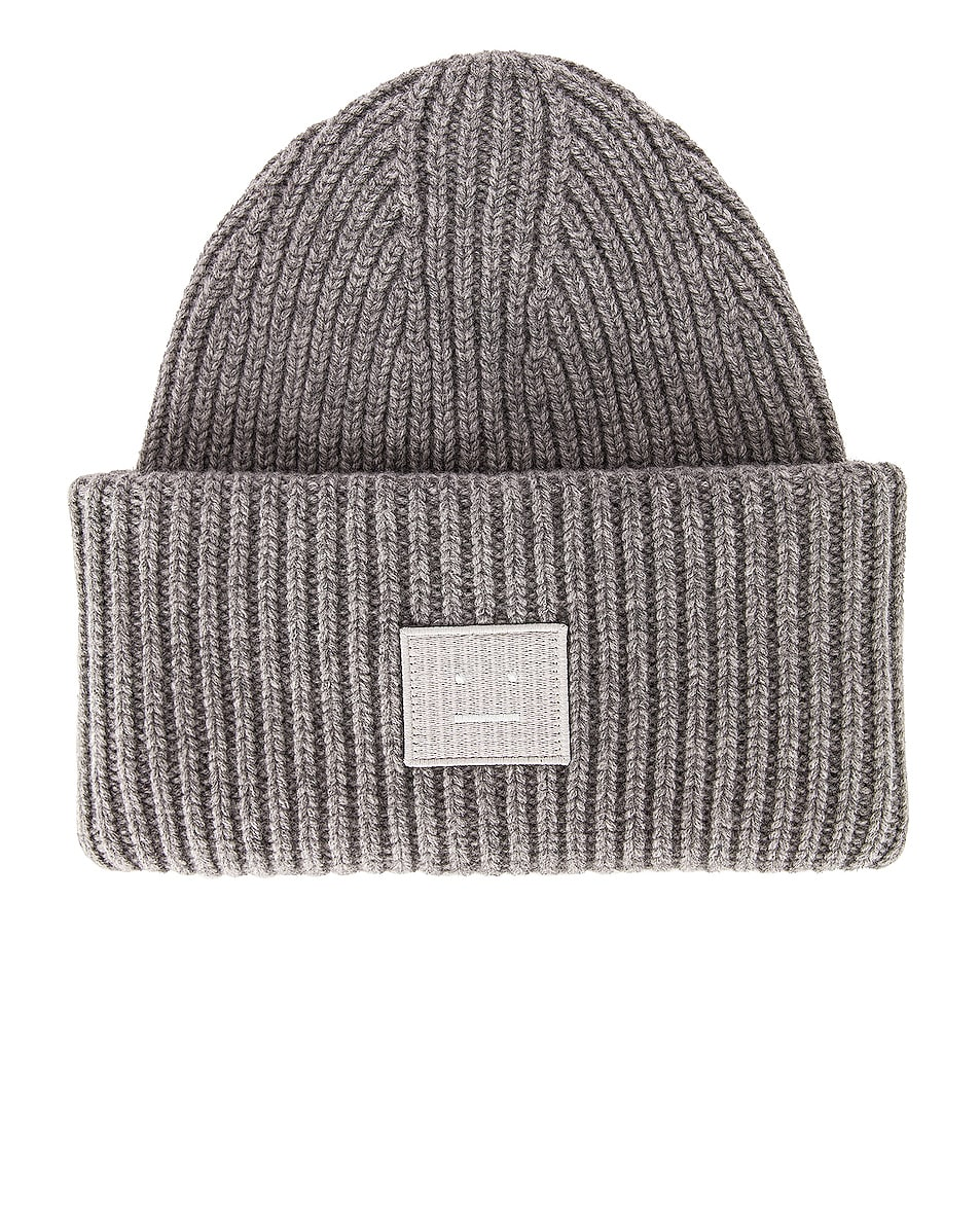 Image 1 of Acne Studios Pansy Face Beanie in Grey Melange