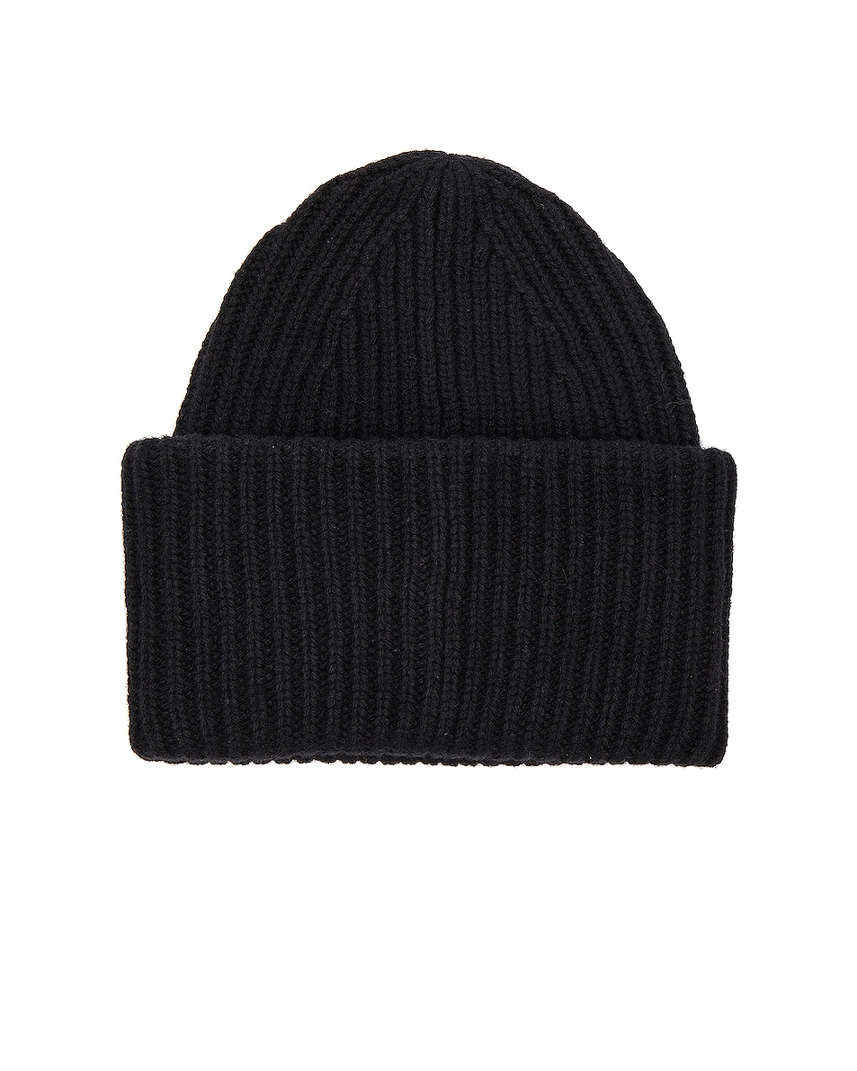Image 2 of Acne Studios Pansy Face Beanie in Black