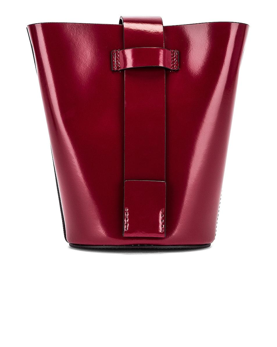 Image 3 of Acne Studios Shiny Musubi Bucket Bag in Burgundy