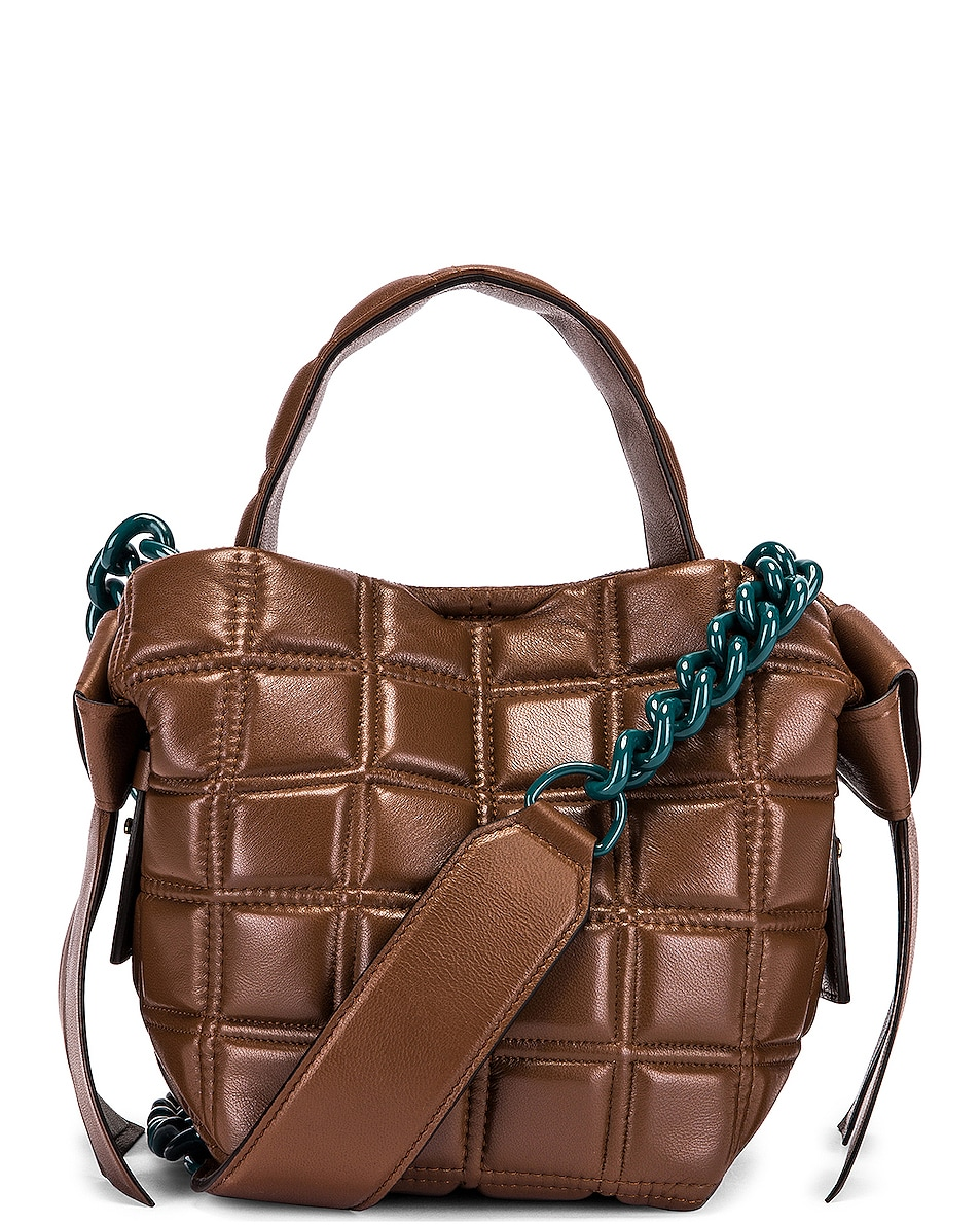 Image 1 of Acne Studios Mini Quilted Musubi Bag in Chocolate Brown