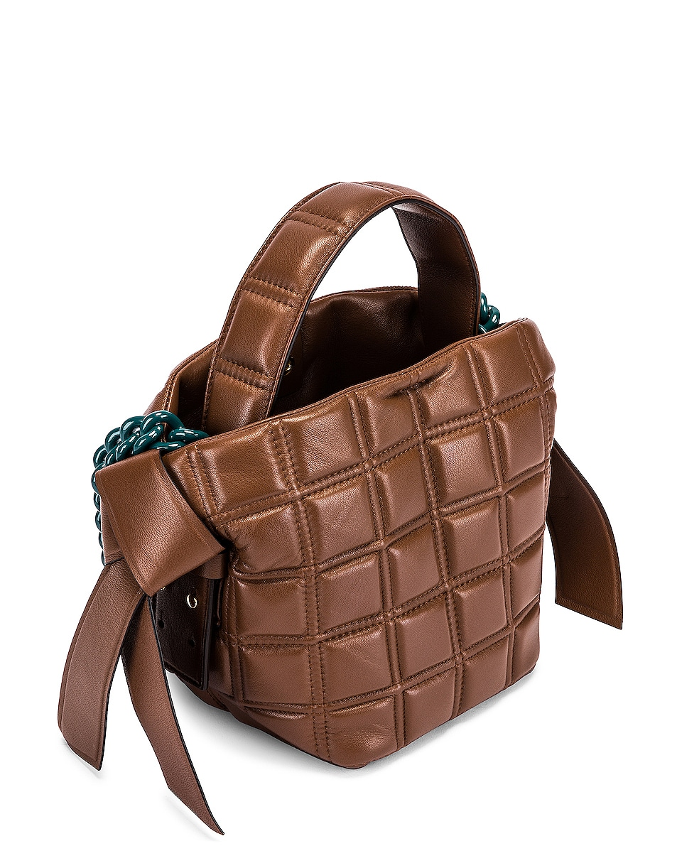 Image 5 of Acne Studios Mini Quilted Musubi Bag in Chocolate Brown