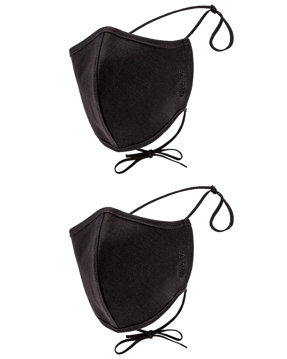 Image 1 of AGOLDE Two Pack Embroidered Cotton Masks in Black