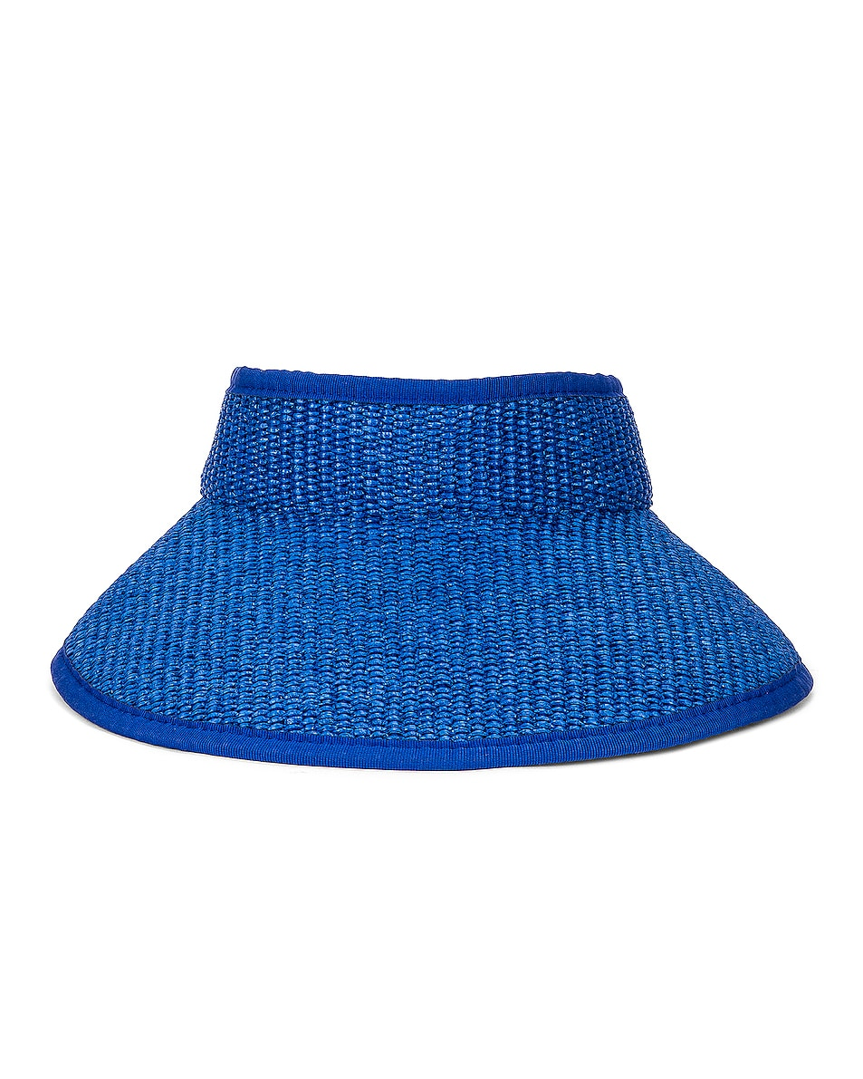 Image 1 of ALBERTA FERRETTI Raffia Tie Hat in Blue