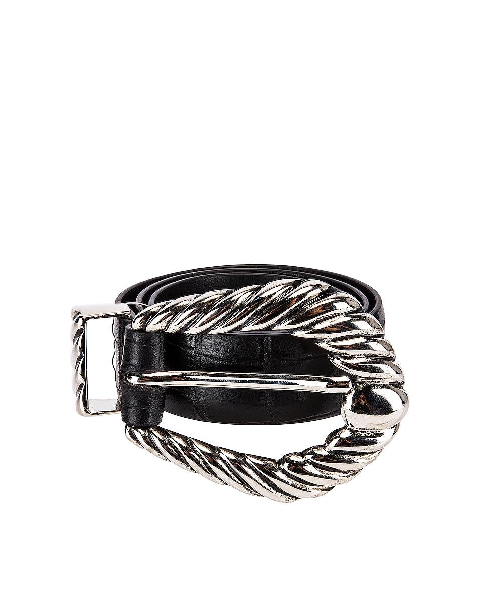 Image 1 of ALBERTA FERRETTI Leather Buckle Belt in Fantasy Black