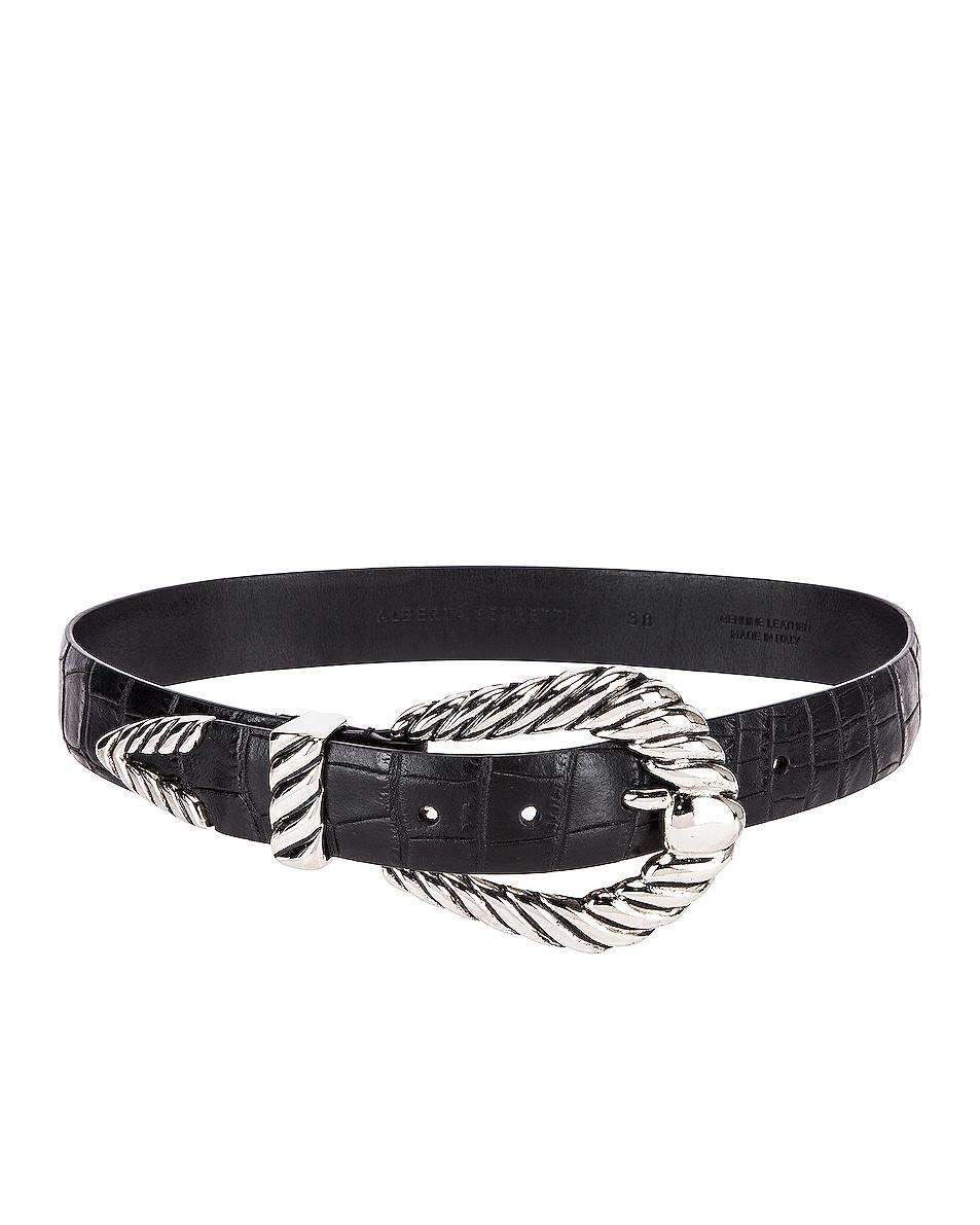 Image 2 of ALBERTA FERRETTI Leather Buckle Belt in Fantasy Black
