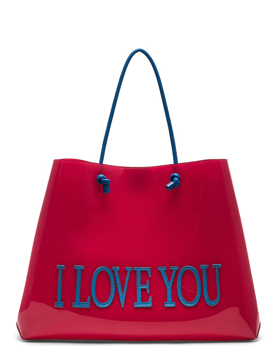 Image 1 of ALBERTA FERRETTI I Love You Large Tote in Red