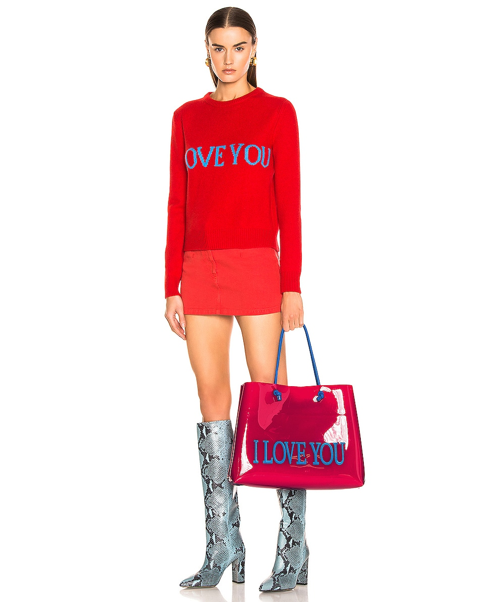 Image 2 of ALBERTA FERRETTI I Love You Large Tote in Red