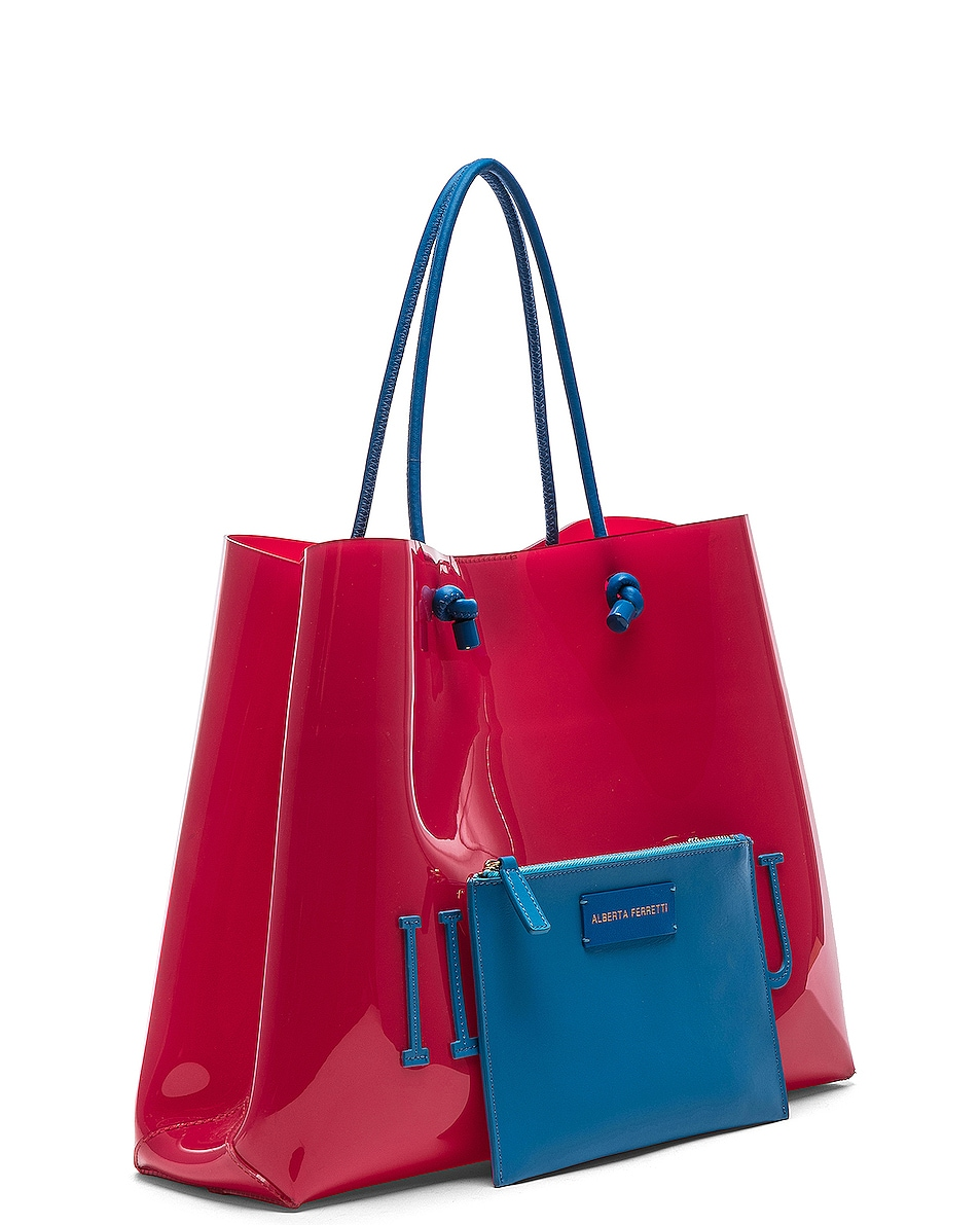 Image 4 of ALBERTA FERRETTI I Love You Large Tote in Red