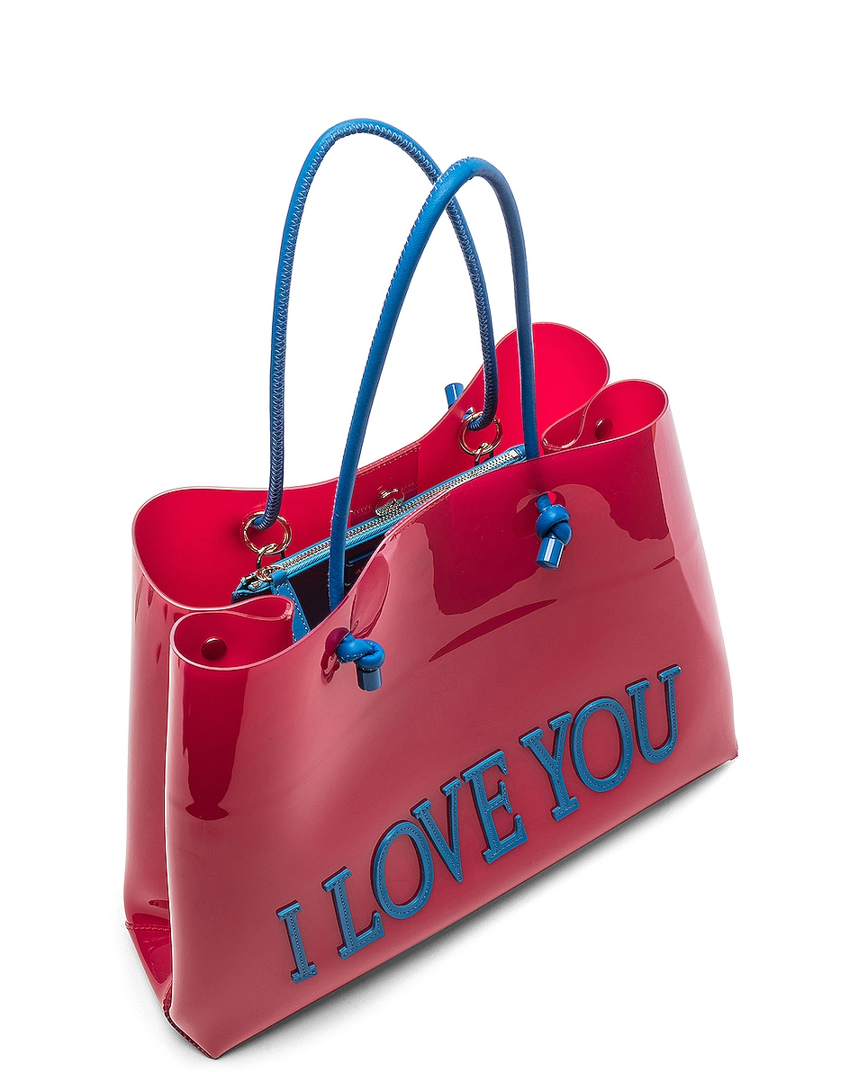 Image 5 of ALBERTA FERRETTI I Love You Large Tote in Red