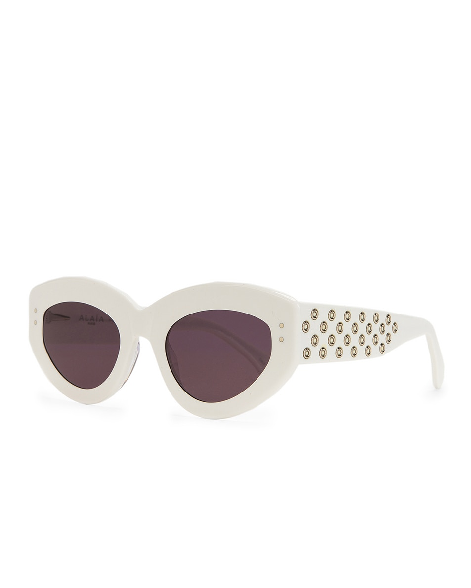 Image 2 of ALAÏA Cat Eye Sunglasses in Shiny White & Grey