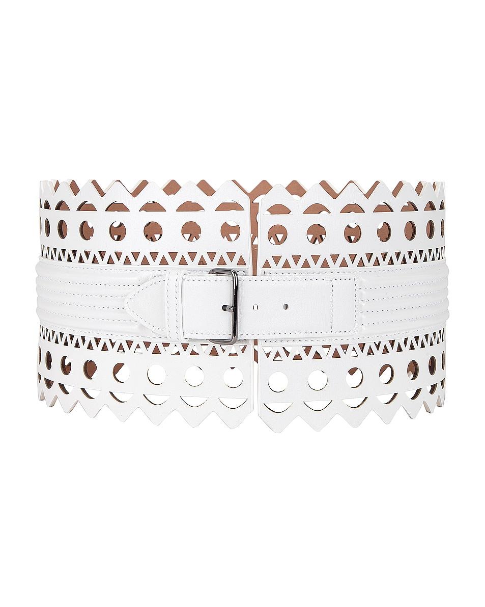 Image 1 of ALAÏA Leather Corset Belt in Blanc Optique
