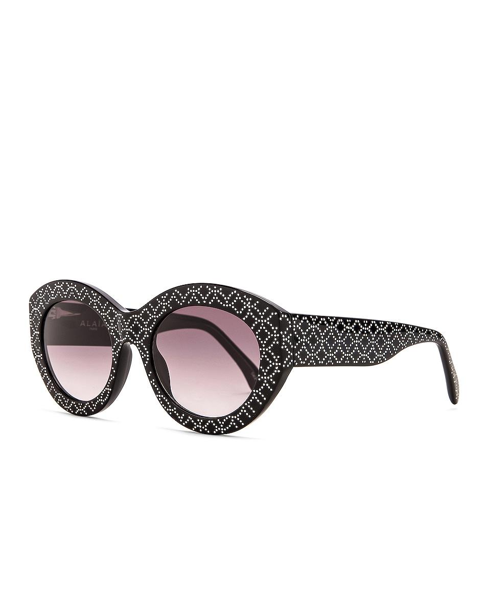 Image 2 of ALAÏA Almond Stud Sunglasses in Shiny Black & Silver