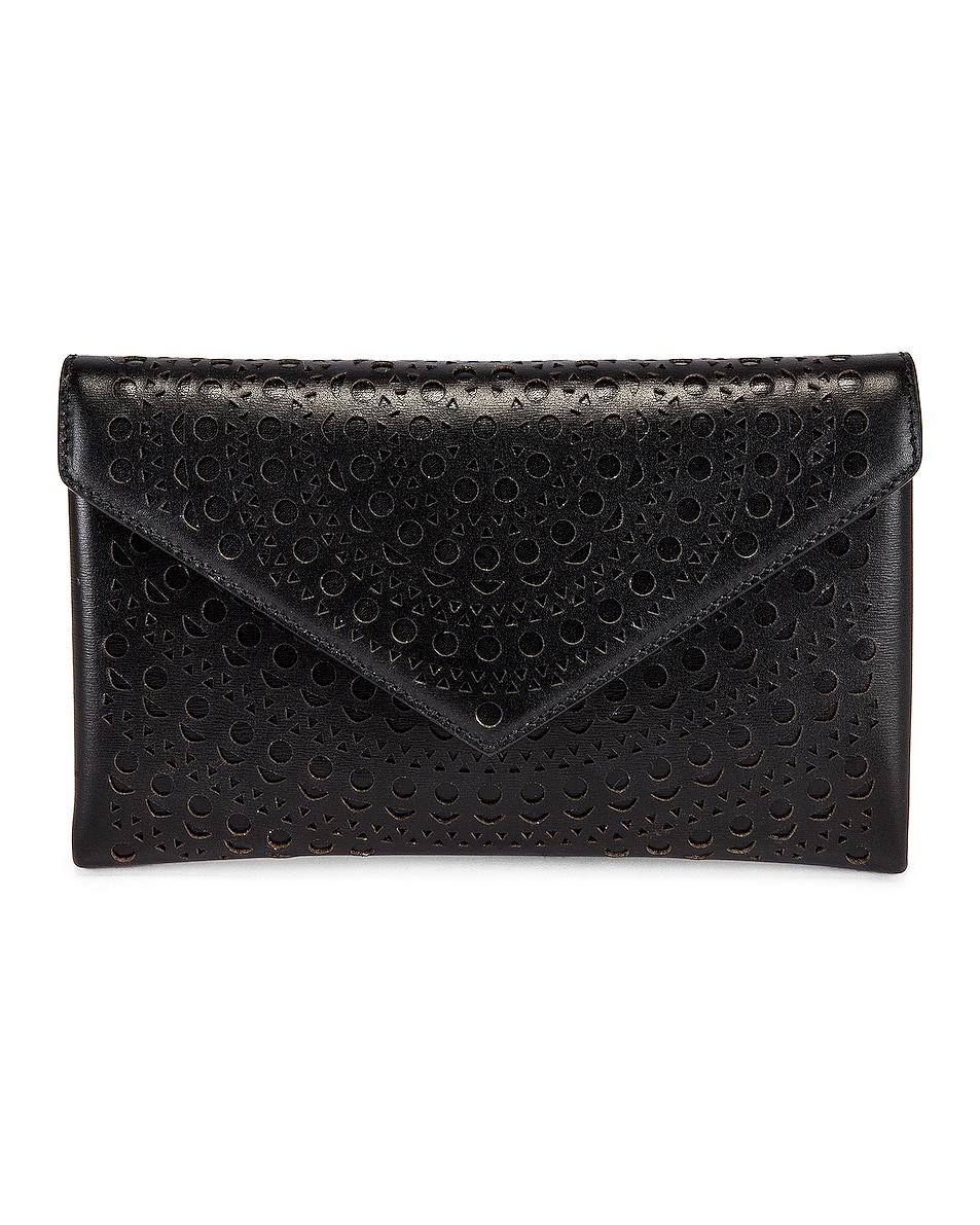 Image 1 of ALAÏA Oum 20 Leather Laser Cut Clutch in Noir