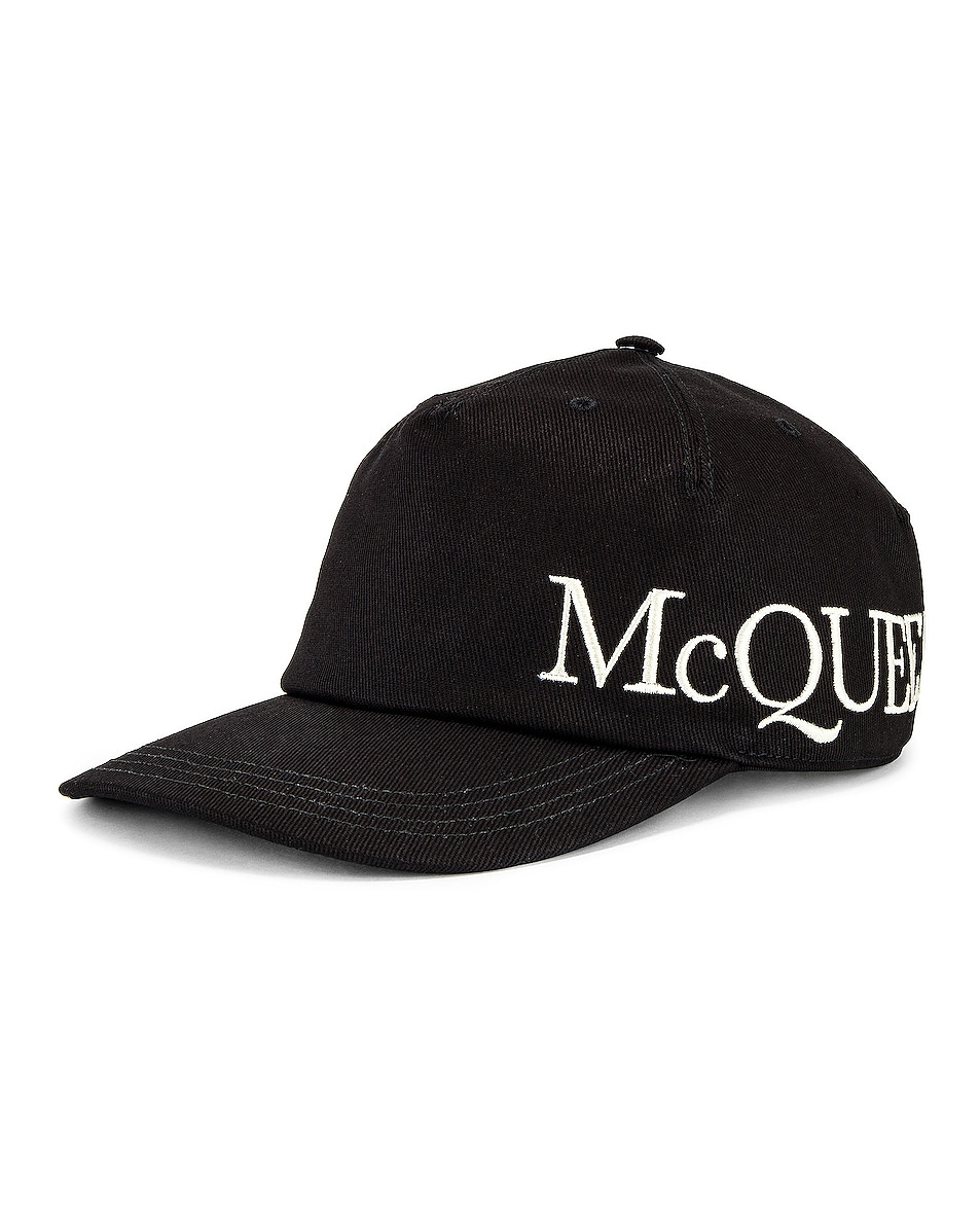 Image 1 of Alexander McQueen Hat in Black & Ivory