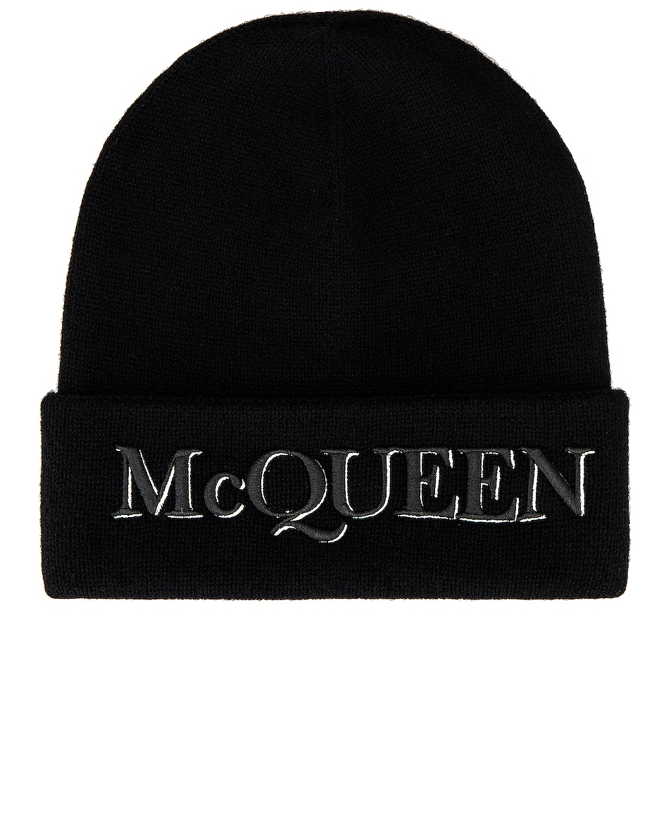 Image 1 of Alexander McQueen Beanie in Black & Ivory
