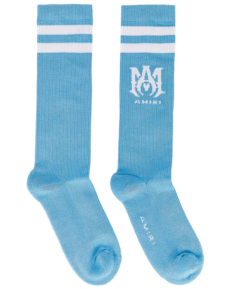 Image 1 of Amiri Ribbed MA Socks in Caroline Blue