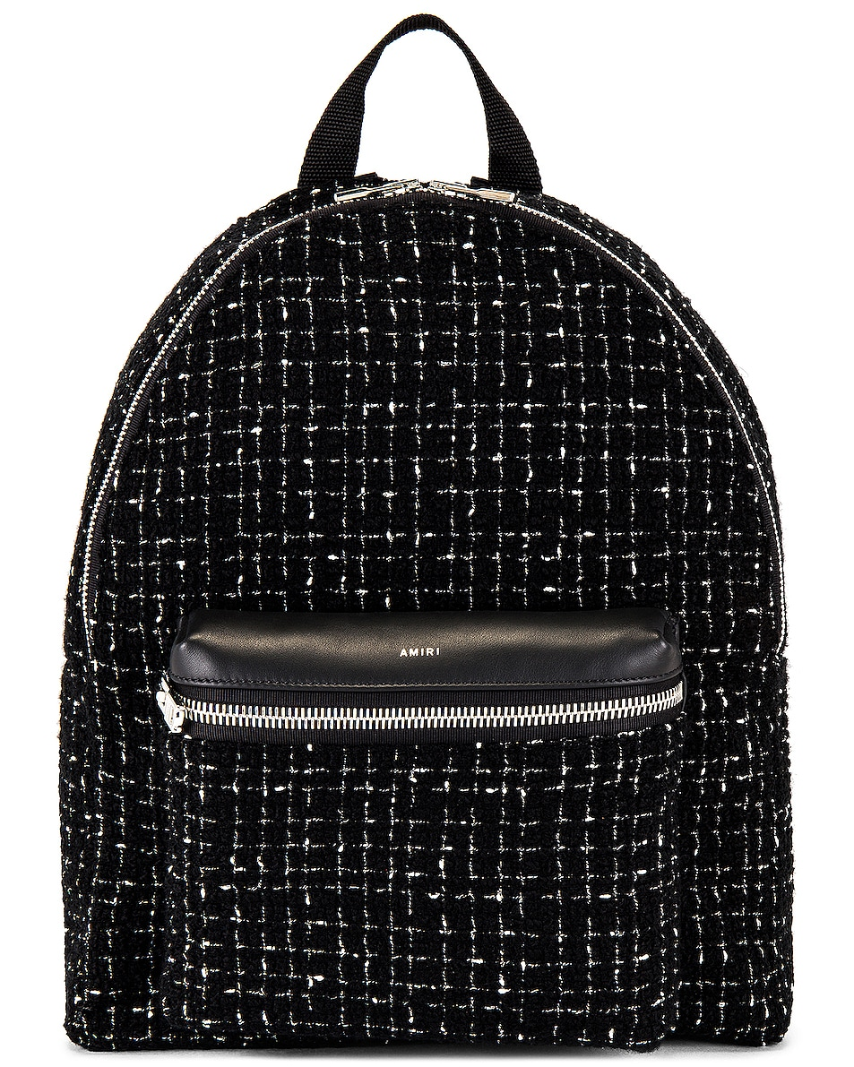 Image 1 of Amiri Boucle Classic Backpack in Black & Black & Silver