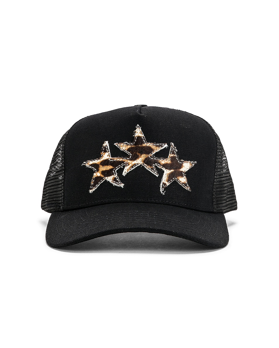 Image 1 of Amiri Three Star Trucker Hat in Black & Leopard