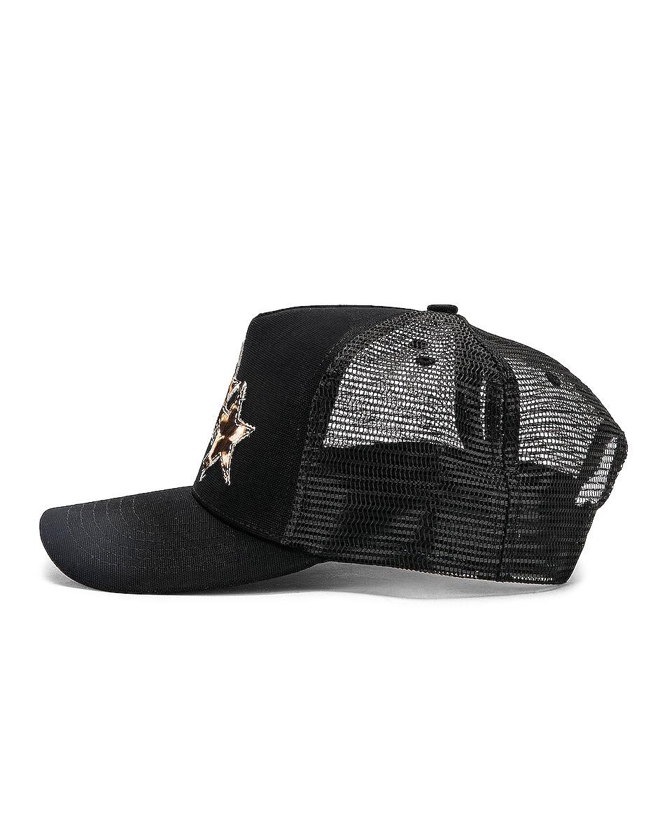 Image 3 of Amiri Three Star Trucker Hat in Black & Leopard
