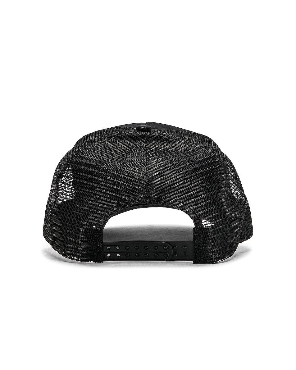 Image 4 of Amiri Three Star Trucker Hat in Black & Leopard