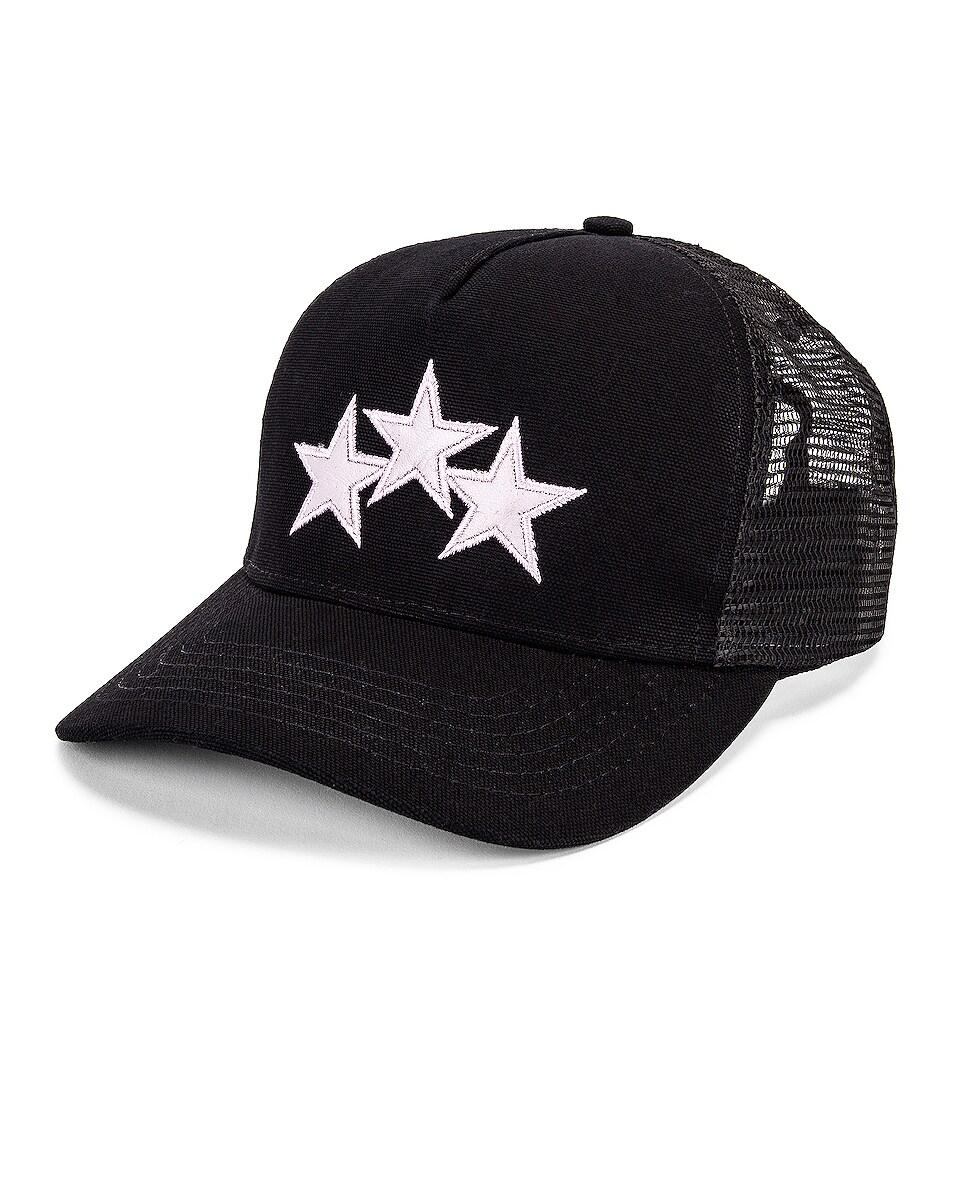 Image 2 of Amiri Star Trucker Hat in Black & Lavender