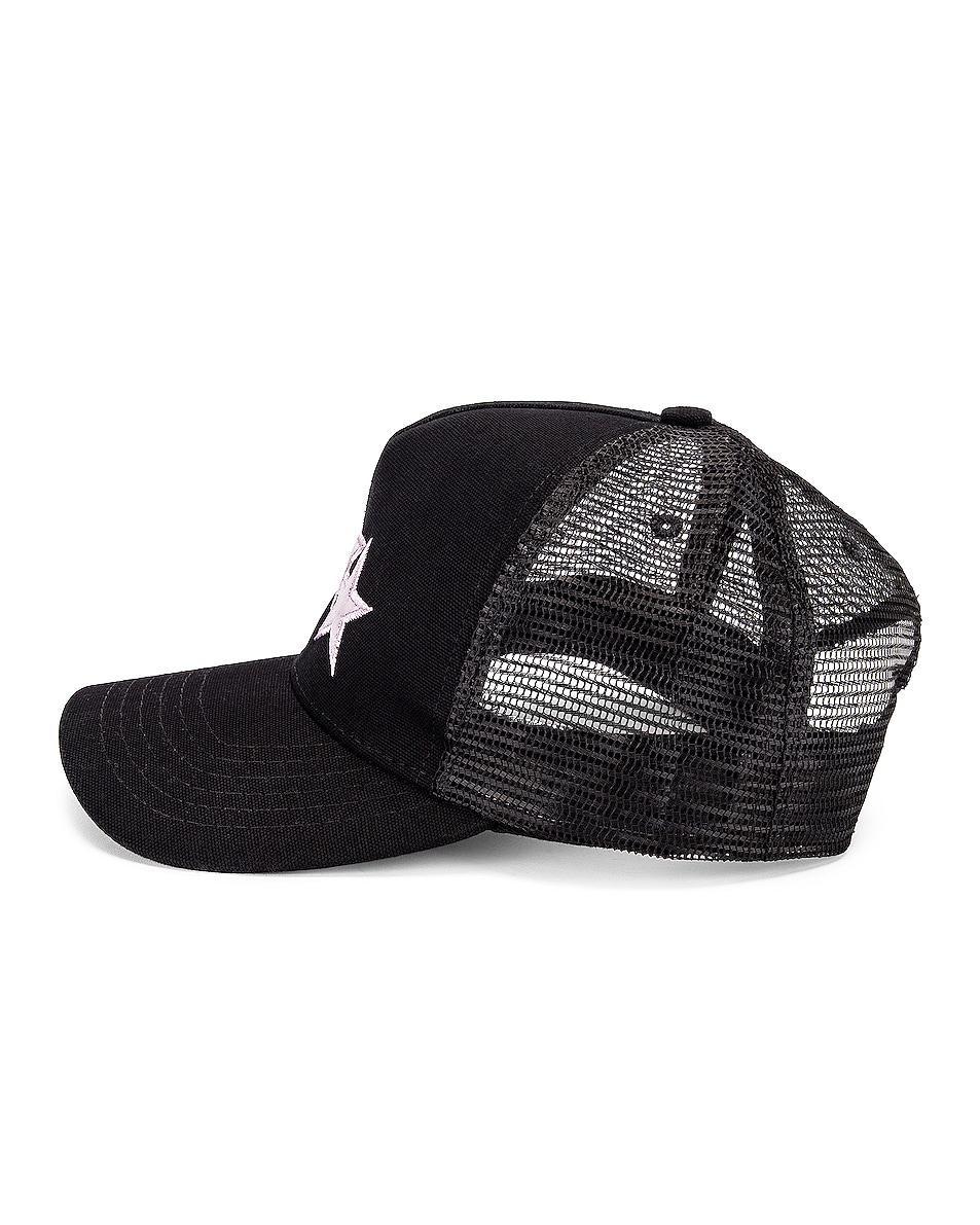 Image 3 of Amiri Star Trucker Hat in Black & Lavender