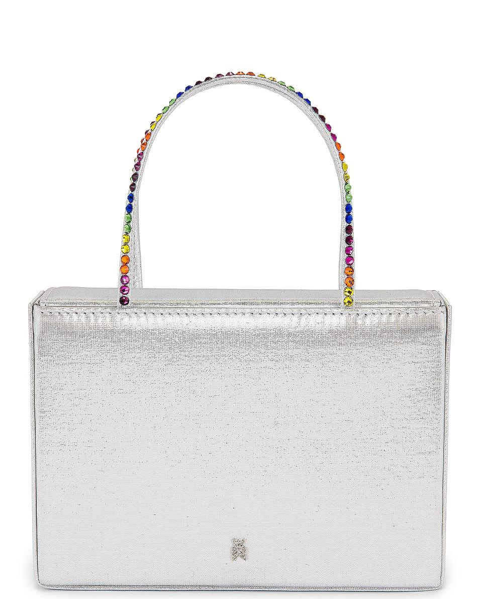 Image 1 of AMINA MUADDI Gilda Crystal Satin Bag in Silver