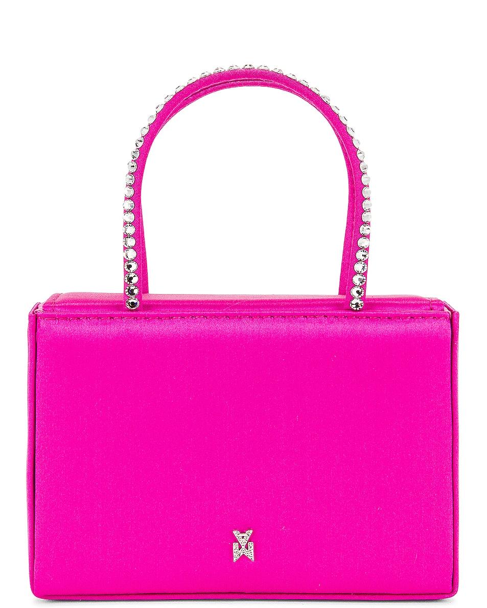 Image 1 of AMINA MUADDI Super Gilda Crystal Satin Bag in Pink