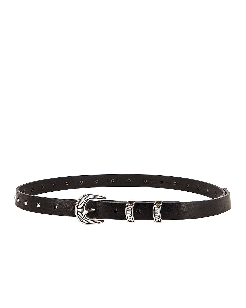Image 2 of ALANUI Engraved Lines Studded Belt in Black