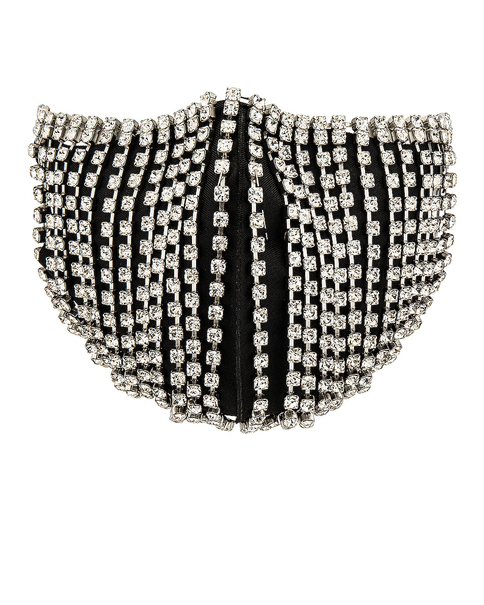 Image 1 of AREA Crystal Fringe Mask Accessory in Clear & Silver
