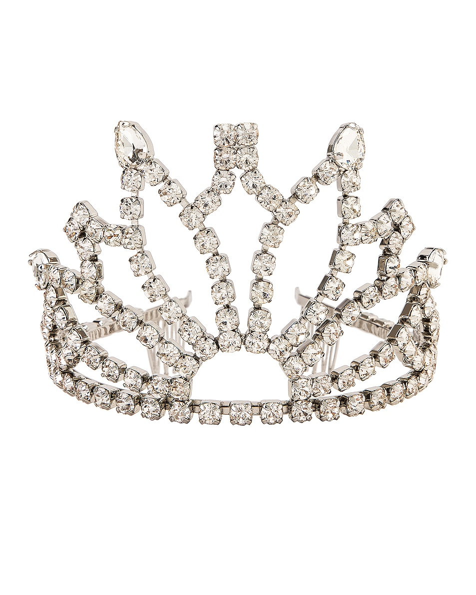 Image 1 of AREA Crystal Tiara in Clear & Silver Clear